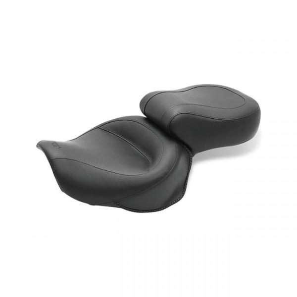 "MUSTANG Seat - ""Mustang 1-piece 2-up wide touring vintage seat plain black"" - Honda: 00-08 VT1100 Sabre; 97-08 Spirit; 87-97 Shadow; 95-01 Ace"