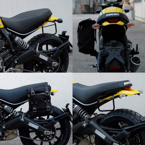 "UNITGARAGE - ""Waxed Suede Side Pannier + Subframe Ducati Scrambler"" - JetBlack"