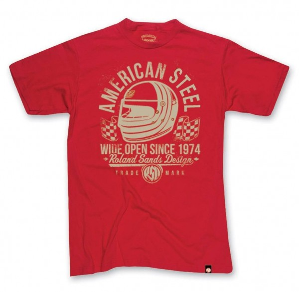 "ROLAND SANDS T-Shirt - ""American Steel"" - rot"