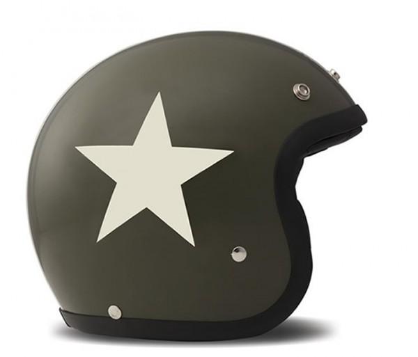 DMD Open Face Helmet Vintage Star Green/White