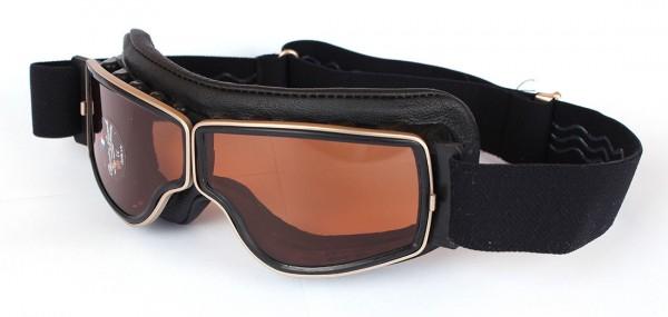 AVIATOR Vintage Motorradbrille T2 schwarz gold braun