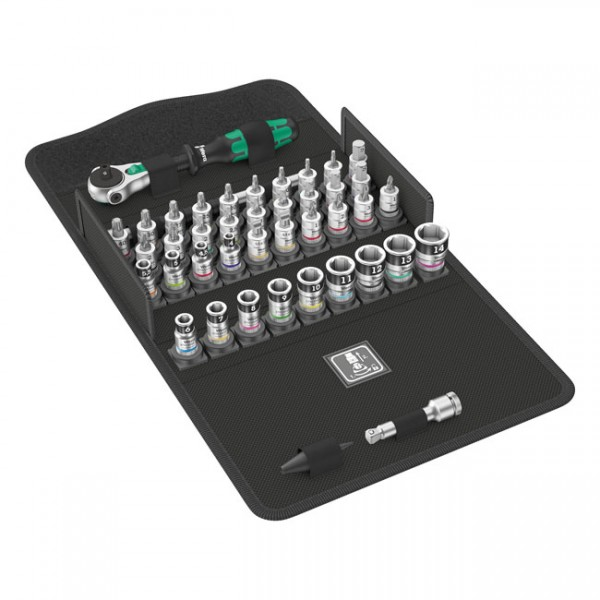 """WERA Tools - """"Zyklop ratchet kit 42 pcs. 1/4"""" drive Metric sizes"""" - Torx®, Hex heads (Allen heads), Phillips, Pozidriv and slotted screws"""
