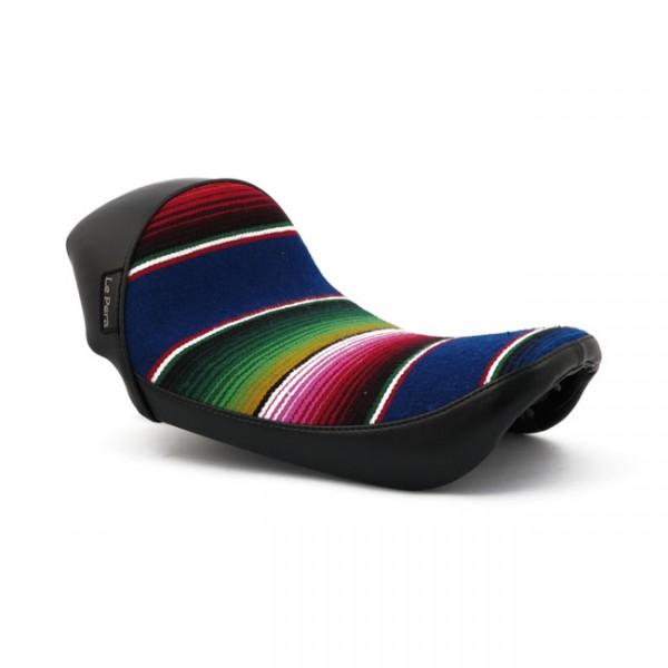 "LEPERA Seat - ""LePera, Stubs Cafe solo seat. Black, Mex Blanket"" - 06-17 Dyna (NU)"