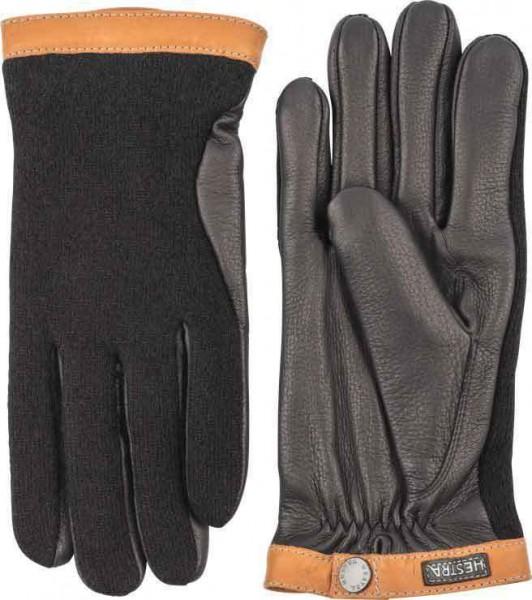 """HESTRA Gloves - """"Deerskin Wool Tricot"""" - black & black"""