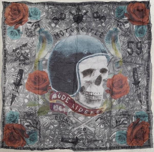 """RUDE RIDERS Scarf - """"Born to Ride"""" - 140 x 130 cm"""
