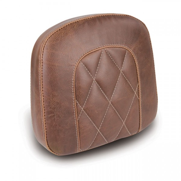"""MUSTANG Sitz - """"Mustang, OEM style sissy bar pad. Brown. Diamond"""" - All H-D with stock/aftermarket s"""