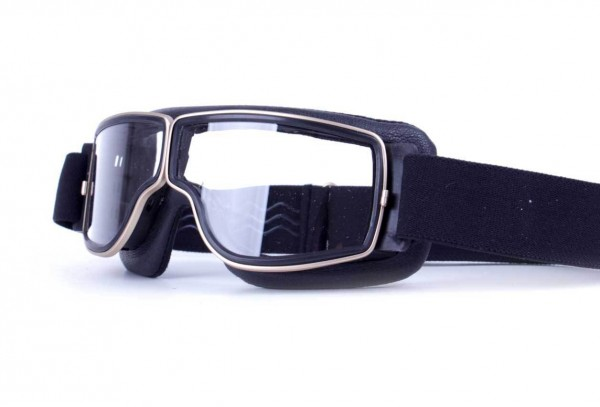 AVIATOR Motorradbrille T3 schwarz gold transparent