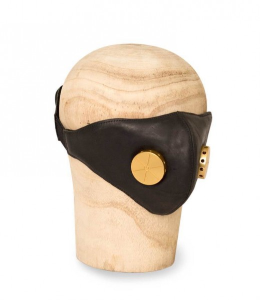 """HEDON Leather Face Mask - """"Hannibal"""" - Black Toxic Brass"""