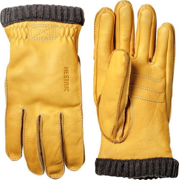 "HESTRA Gloves - ""Deerskin Primaloft Rib"" - natural yellow"