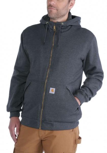 Carhartt Hoodie Sherpa Lined Midweight Full Zip Sweatshirt in Grau