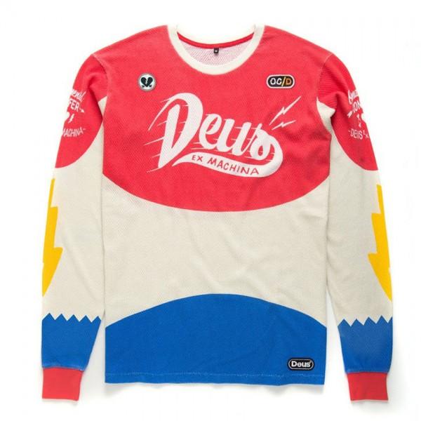 "DEUS EX MACHINA Men's Longsleeve ""OC/D Moto"" red & blue"