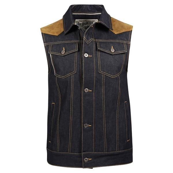 "ROKKER Weste - ""Mixed Vest Denim"" - blau & braun"