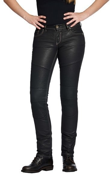 "ROKKER Women's Jeans - ""The Diva Biker Style"" - black coated"