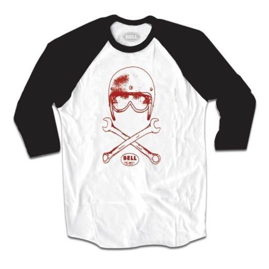 """BELL 3/4 Shirt - """"Wrench Baseball"""" - weiss & schwarz"""