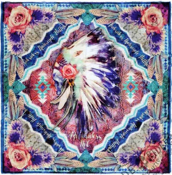 """RUDE RIDERS Scarf - """"Psychedelic Indian"""" - 140 x 130 cm"""