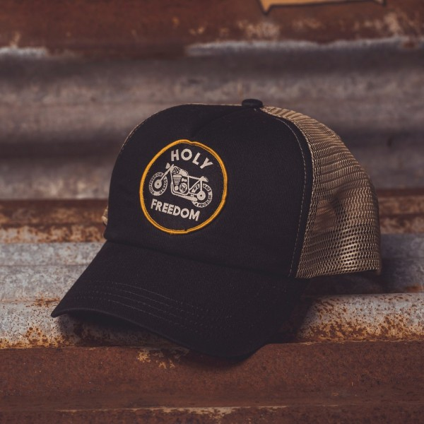 "HOLY FREEDOM Hat - ""Racercap"" - black & beige"