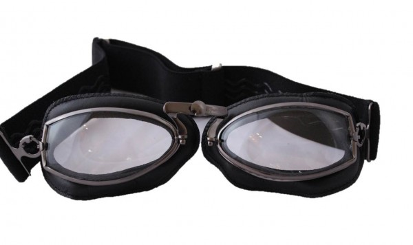 AVIATOR Motorcycle Goggles Mod 444 gunmetal and leather