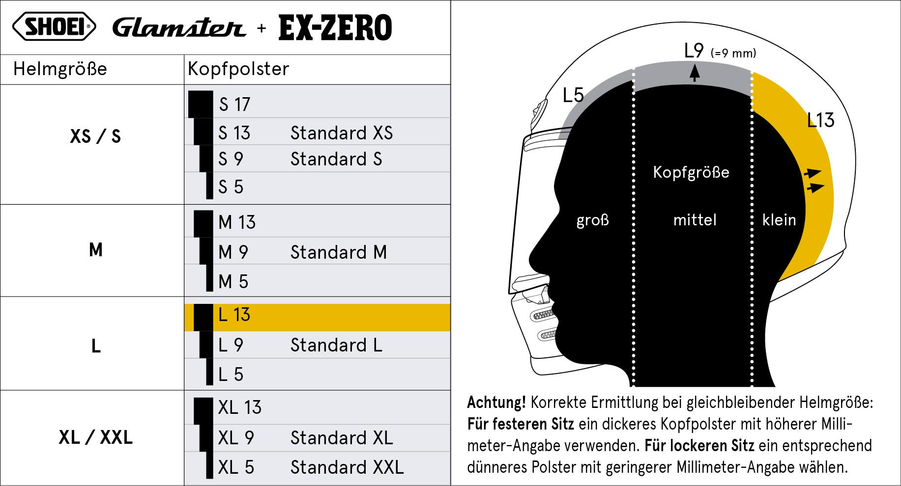 SHOEI EX-Zero & Glamster Innenfutter Größentabelle