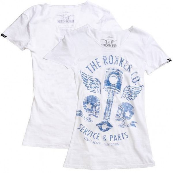 "ROKKER Women's T-Shirt - ""Flying Pistons"" - white"