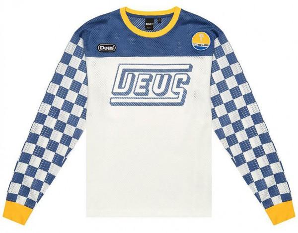 """DEUS EX MACHINA Moto Jersey - """"Chex"""" - weiß, blau & gelb"""