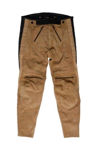 "EL SOLITARIO Lederhose - ""Rascal Leather Motorcycle Pants"" - Nubuk beige"