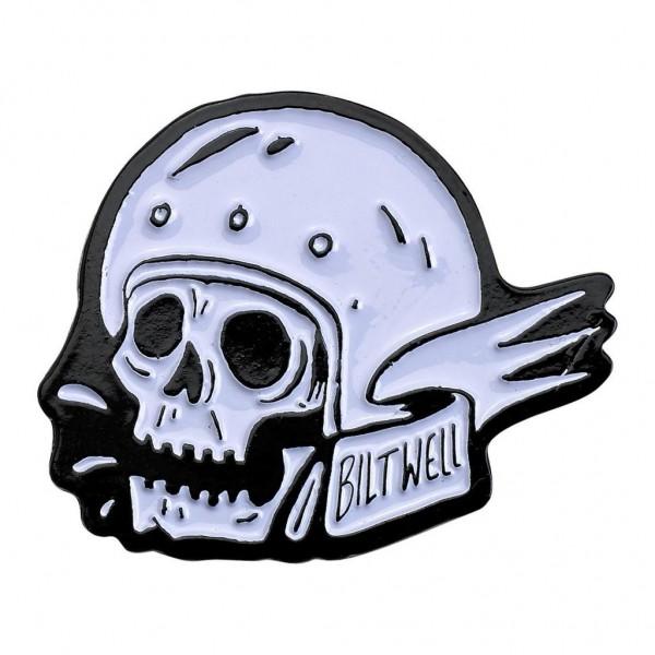 """BILTWELL Pin - """"Skull White/ Black"""""""