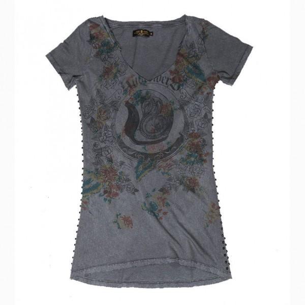 "RUDE RIDERS Damen T-Shirt - ""Motorcycle & Roses"" - dunkelgrau"