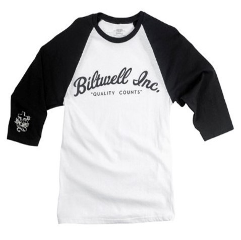"BILTWELL 3/4 Shirt - ""Script Raglan"" - weiß & schwarz"