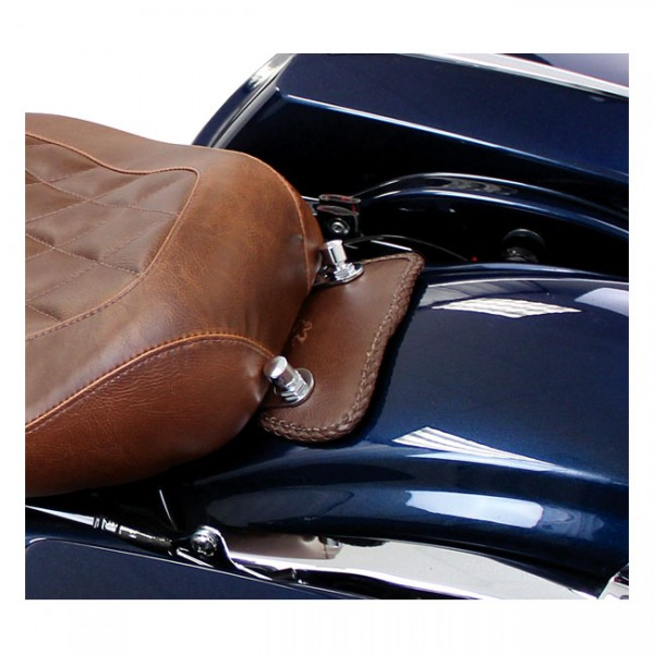 "MUSTANG Seat - ""Mustang, mini fender bib. Plain with braided edges. Brown"" - 00-03 FLSTS; 06-07 FLSTSC; 07-17 FLSTC; 05-17 FLSTN; 97-19 FLT/Touring"