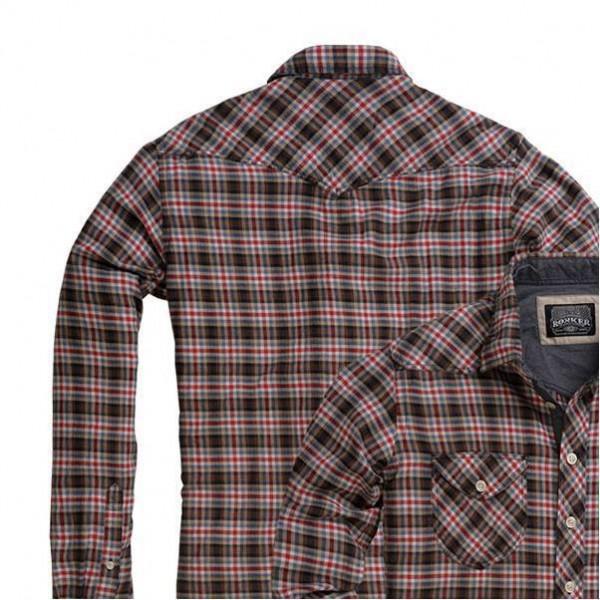 """ROKKER Herrenhemd - """"Brotherhood Brown & Red Vintage"""" - kariert"""