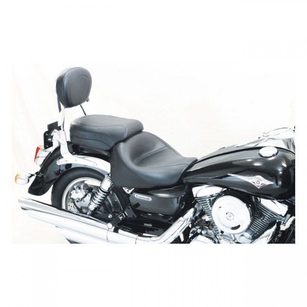 "MUSTANG Seat - ""Mustang 2-p wide touring vintage seat plain black"" - Kawasaki: 03-08 Vulcan 1600 Classic; 05-08 Vulcan 1600 Nomad"