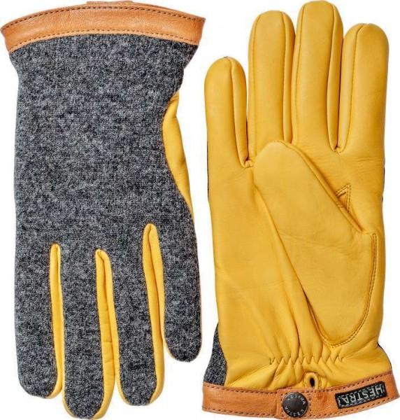 """HESTRA Handschuhe - """"Deerskin Wool Tricot"""" - grau & gelb"""
