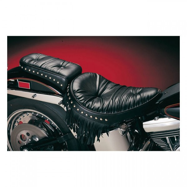 """LEPERA Sitz - """"Sanora solo seat. Regal Plush with fringes. Gel"""" - 00-07 Softail with up to 150mm tir"""