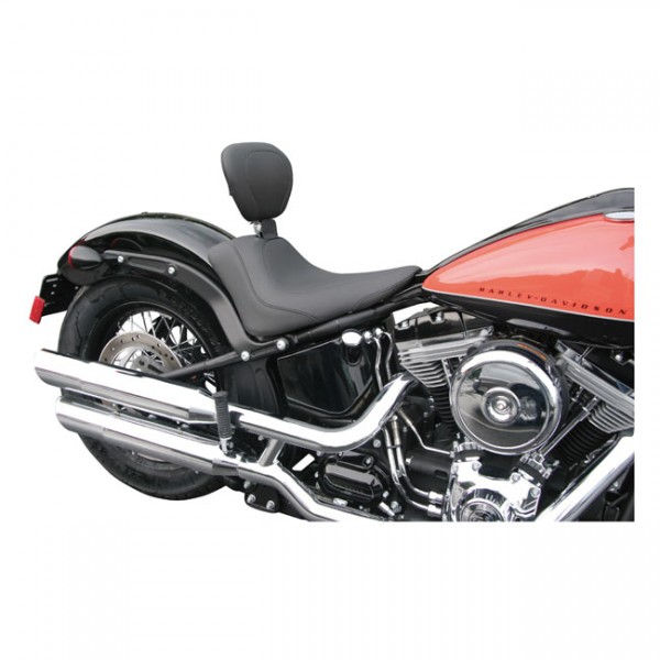 """MUSTANG Seat - """"Mustang, Wide Tripper solo seat. With rider backrest"""" - 11-13 Softail FXS Blackline; 11-17 FLS/S Softail Slim (NU)"""