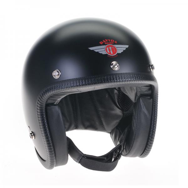 DAVIDA open face helmet Speedster v3 Matt black with studs ECE and DOT